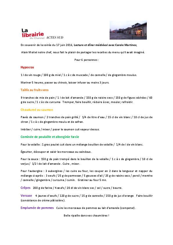 thumbnail of menu médiéval d'Alain Moitel